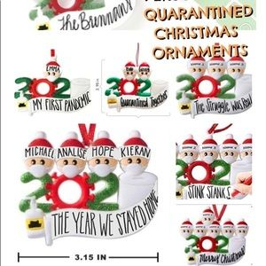 Personalized 2020 Covid Ornaments 1-7 People